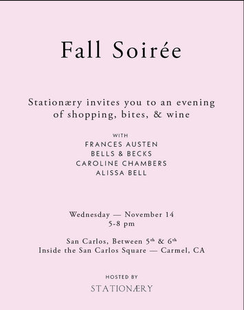 Nov 14th Pop Up at Stationaery in Carmel CA