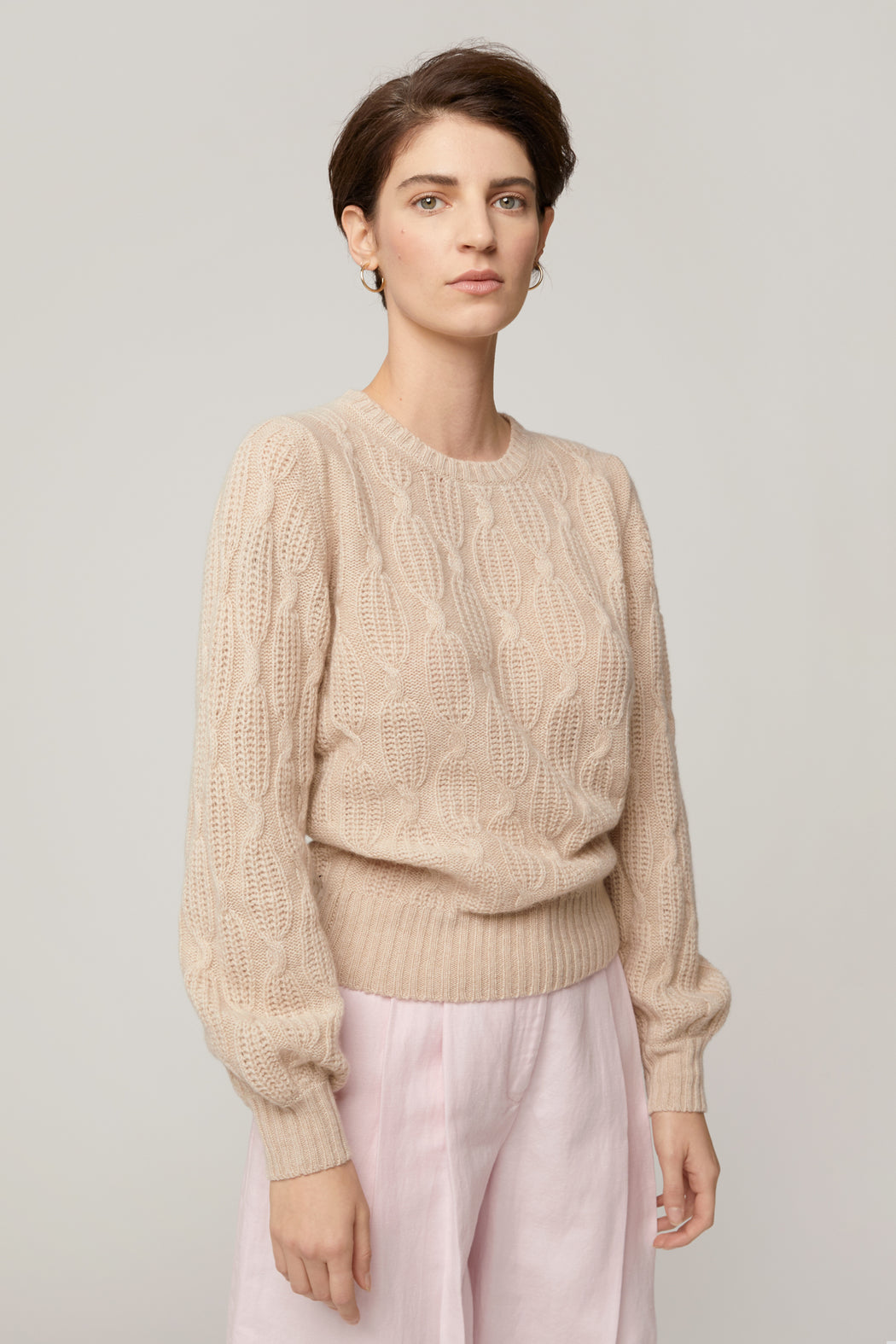 The Cable Lantern Sleeve, Pale Camel