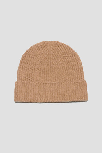 Ribbed Cashmere Beanie Camel