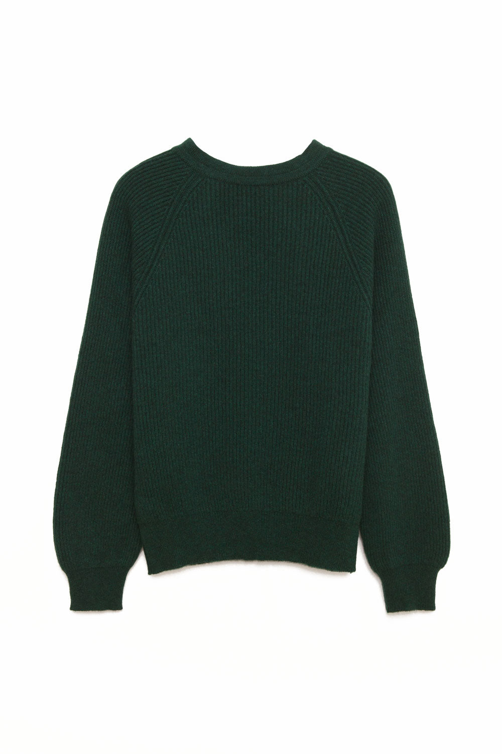 Evergreen cashmere mock neck pullover sweater with tie back silhouette