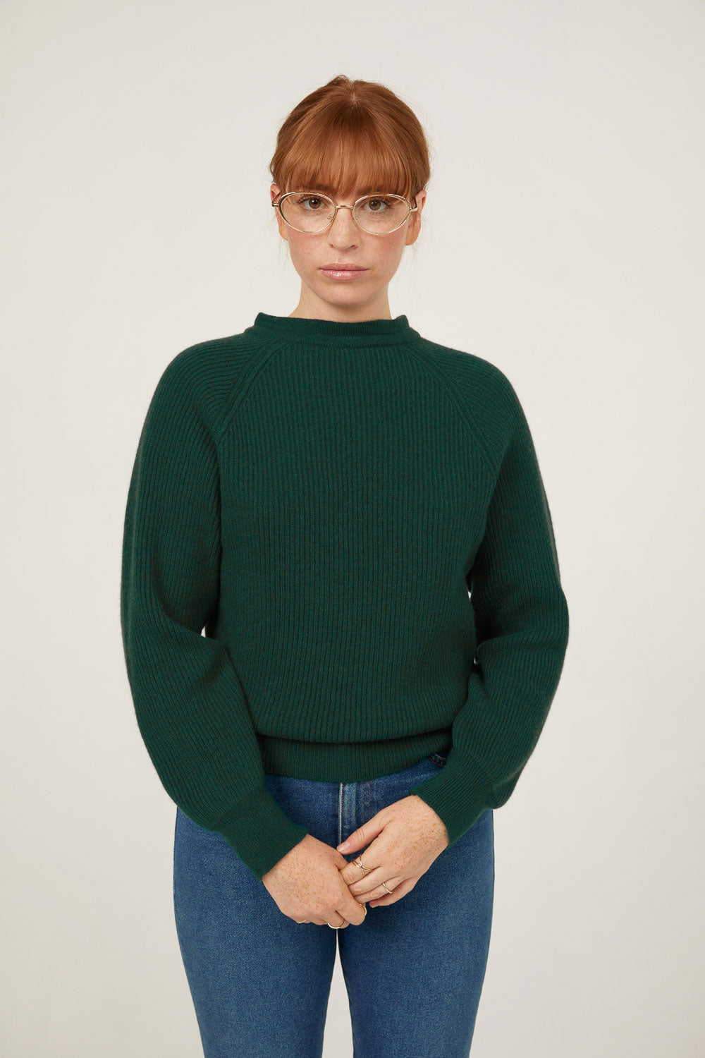 Evergreen cashmere mock neck pullover sweater with tie back front view