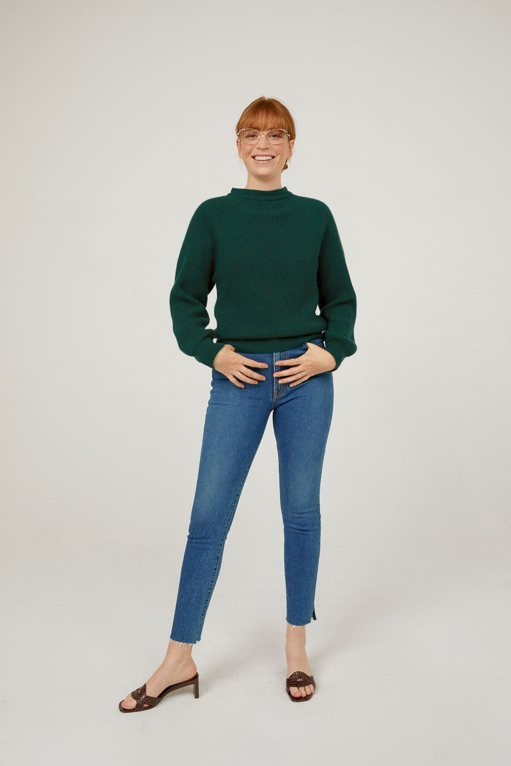 Evergreen cashmere mock neck pullover sweater with tie back full outfit styled with jeans