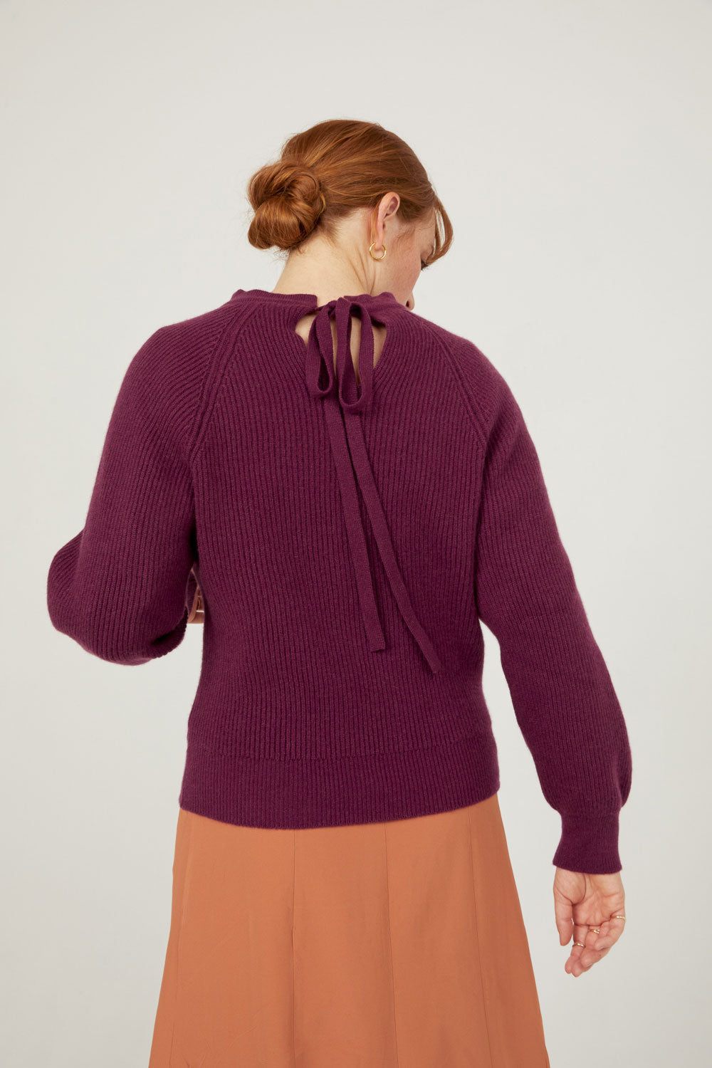 The Mock Neck Tie Back, Plum FINAL SALE