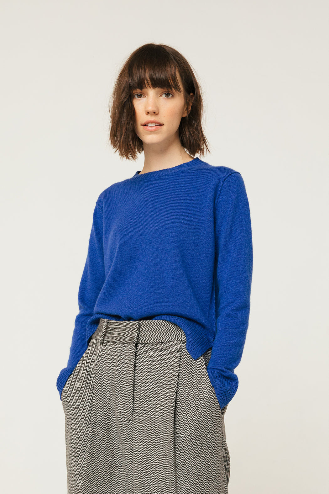 Raw Edge Crew Neck, Marjorelle Blue