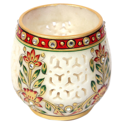 Beautifuly crafted Jaalidaar marble candle stand holder