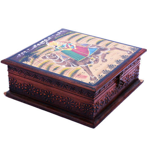 Wooden Box with Antique Carving and Camel Painting