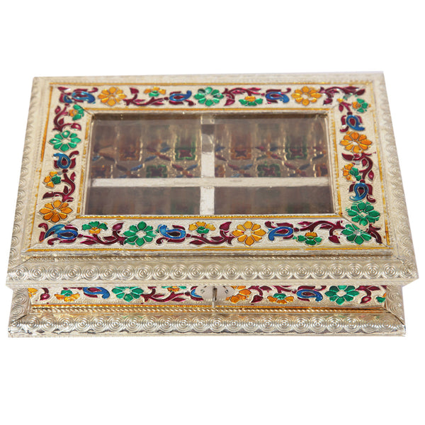 Wooden Meenakari Work Dryfruit Box with Metal Sheet and Four Partitions