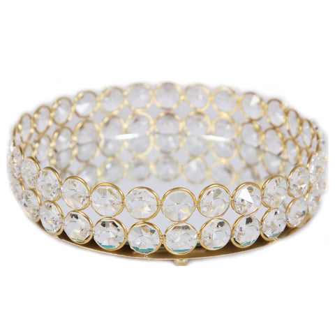 Designer Round Shaped Tray in Crystal & Metal