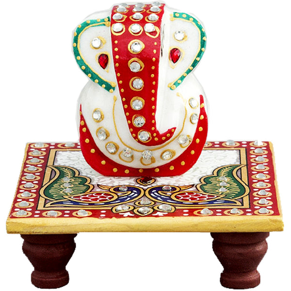 Multicolor Marble Ganesh with Chowki
