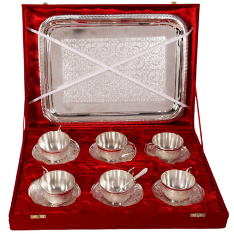 6 Cup & Saucer Set, Serving Tray In German Silver