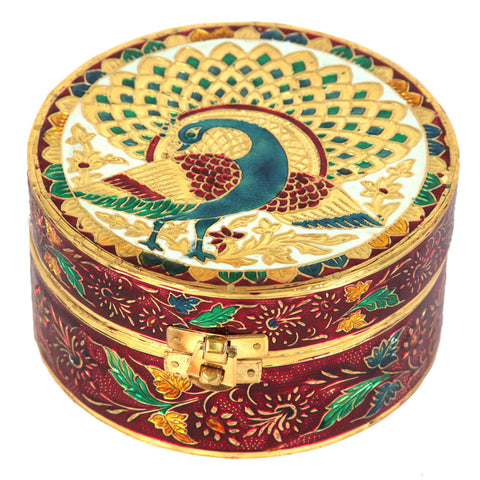 Wooden Round Box with Meenakari Work
