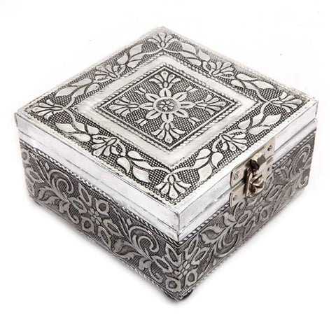 Designer Square Box in Wood and Oxidized Metal