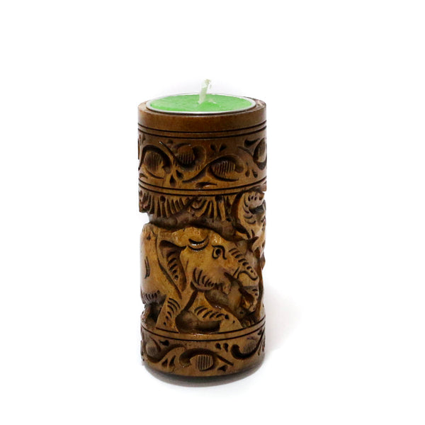 Designed Wooden Candle Stand Holder in Golden Brown