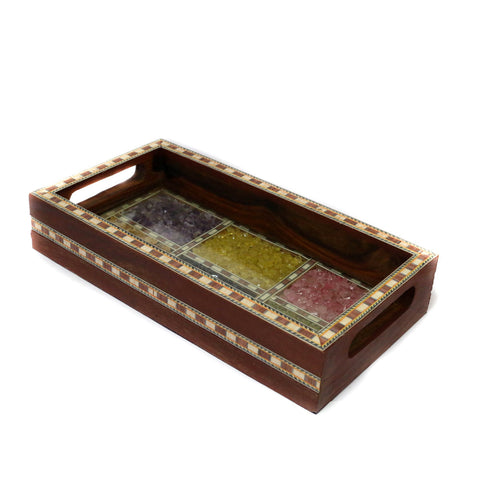 Antique Wooden Tray in Dark Brown