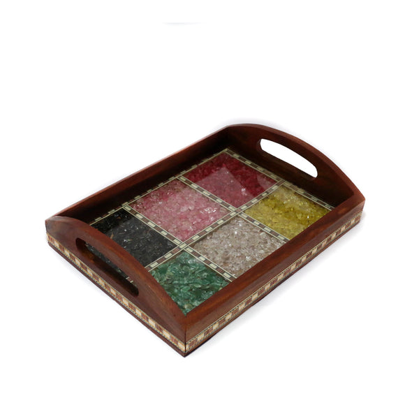 Flat Wooden Tray with Stone Work