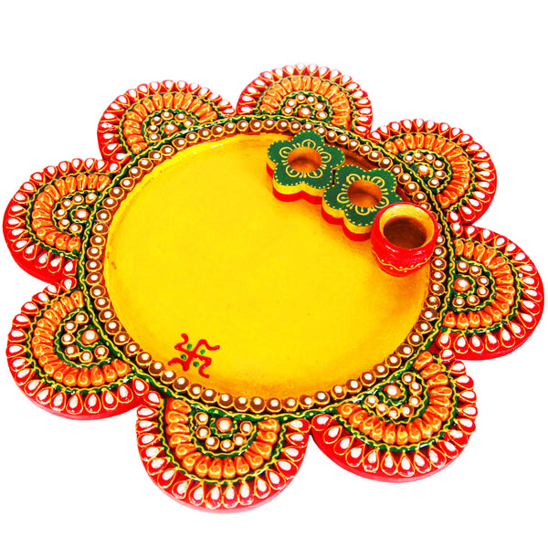 Flower engraved pooja plate