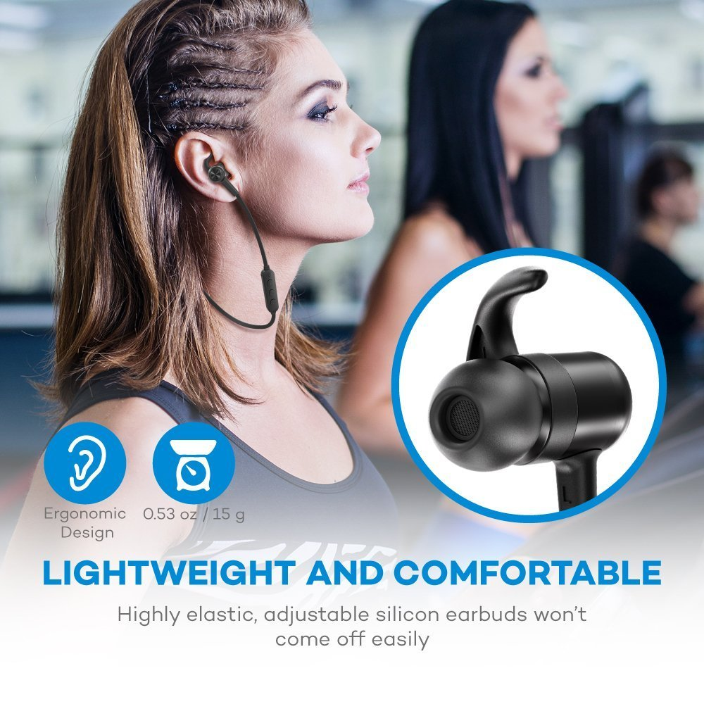 39dda371bf3 Bluetooth Headphones TaoTronics Wireless Earbuds Sport Earphones 9 Hours 4.2  Magnetic Lightweight & Fast Pairing (cVc 6.0 Noise Cancelling Mic, Snug  Silicon ...