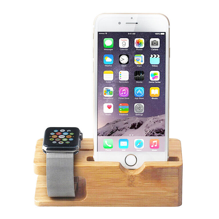 separation shoes eb084 76a69 Bamboo Wooden Charger Dock with Watch Holder 2 in 1 for Apple Watch &  iPhone 7/7 plus/ 6s/6s Plus/6/6Plus/5s/5c/5
