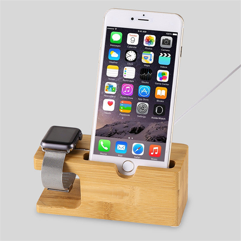 separation shoes dbcc7 01ef5 Bamboo Wooden Charger Dock with Watch Holder 2 in 1 for Apple Watch &  iPhone 7/7 plus/ 6s/6s Plus/6/6Plus/5s/5c/5
