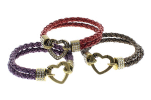 "Genuine Leather Double Braided Round with Heart Shape Closure Bracelet, 19cm (7.5"")"