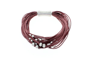 "Viscose Rayon Multi-Strand With 6mm Stainless Steel Beads Bracelet, 19cm (7.5"")"