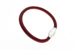 "Genuine Lamb Leather with Magnetic Stainless Steel Clasp Bracelet, 19cm (7.5"")"