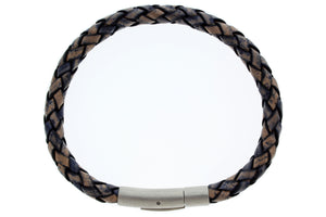 "Braided Genuine Leather with Stainless Steel Clasp Bracelet, 21cm (8.27"")"