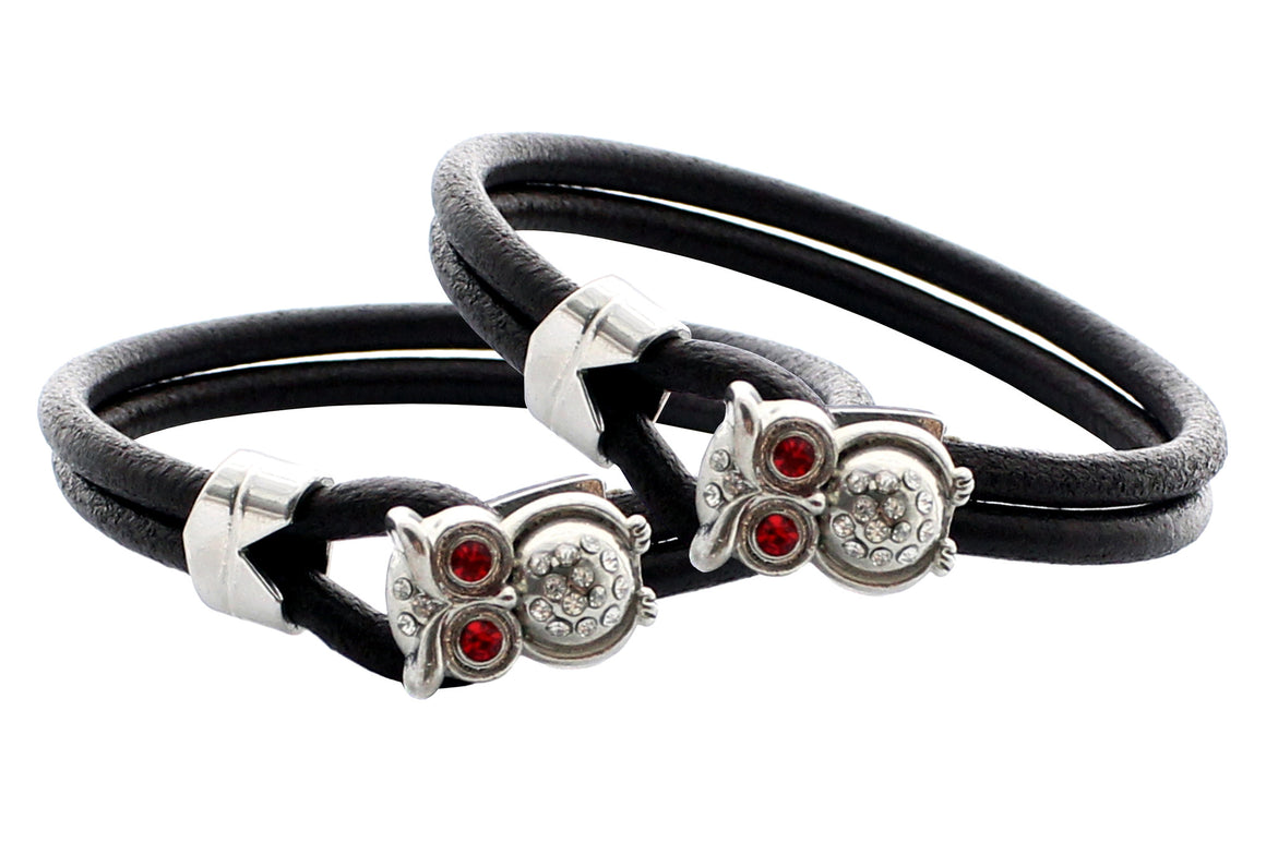 "Double Layers Genuine Leather with Owl Closure Bracelet, 19cm (7.5"")"
