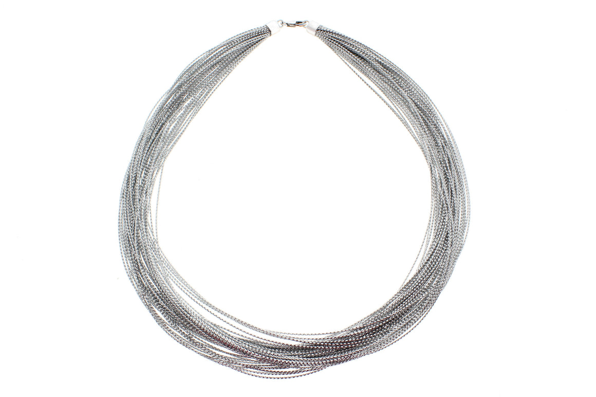 "Multi-Layers of Viscose Rayon with 925 Sterling Silver Lobster Clasp Necklace, 42cm (16.54"")"