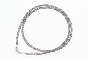 "Stainless Steel Mesh Filled with CZ Crystals, 925 Sterling Silver Lobster Clasp Necklace, 45cm (17.72"")"