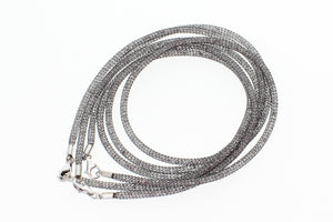 "Stainless Steel Mesh Filled with CZ Crystals, 925 Sterling Silver Lobster Clasp Necklace, 40cm (15.75"")"
