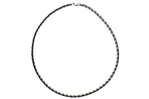 "Braided Genuine Leather with 925 Sterling Silver Lobster Clasp Necklace, 40cm (15.75"")"