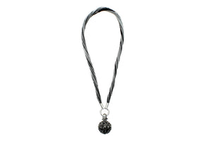 "Multi-Strands Viscose Rayon with Heart Locket, Stainless Steel Circle Clasp Necklace, 40cm (15.75"")"