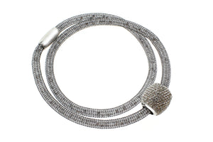 "Stainless Steel Mesh CZ Crystal and Beads Charm with Magnetic Clasp Necklace, 40cm (15.75"")"