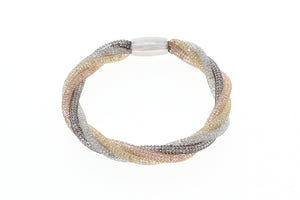 "Stainless Steel Mesh CZ Crystal Twist with Magnetic Clasp Bracelet, 18cm (7"")"