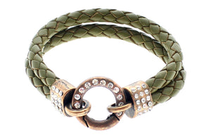 "Genuine Leather Double Braided Round with Crystal Closure Bracelet, 19cm (7.5"")"