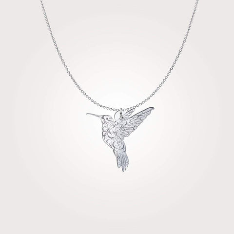 Sterling Silver Hummingbird  Necklace - Print Fads