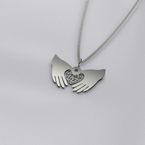 Heart In Hands Pendant Necklace - Print Fads