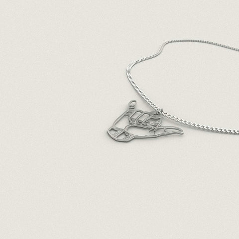 Image of Shaka Pendant Sterling Silver Necklace - Print Fads