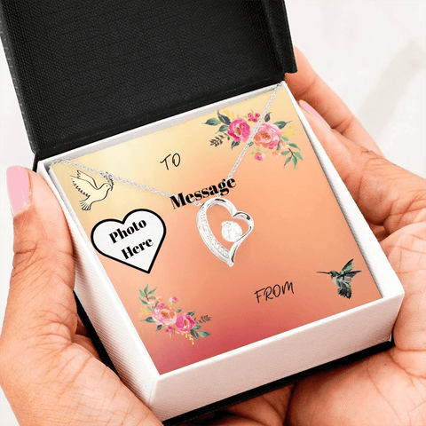 Heart Shaped Pendant With Personalized Photo Message Card