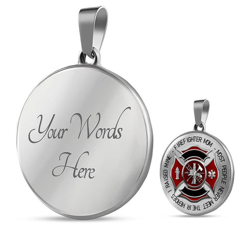 Firefighter Mom Luxury Circle Pendant Necklace
