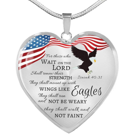 Isaiah 40:31 Luxury Heart Necklace - Print Fads