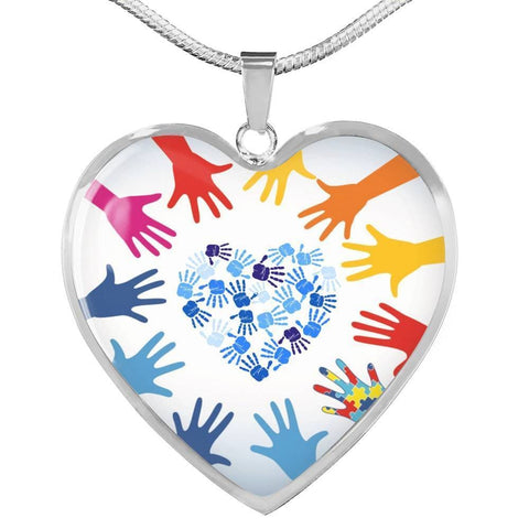 "Image of Autism Awareness Jewelry -""Autism Hands"" Luxury Autism Necklace - Print Fads"
