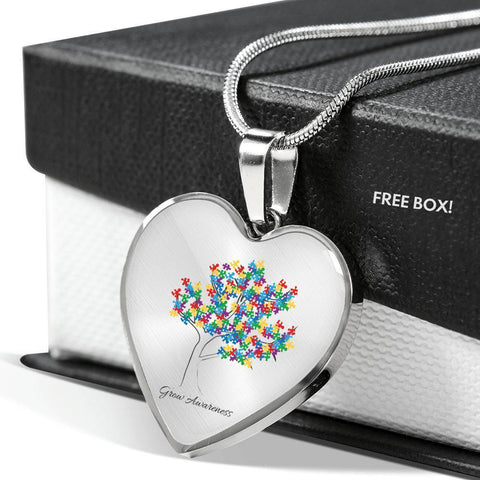 Image of Grow Awareness Pendant Heart Shaped Necklace - Print Fads
