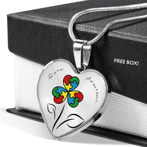 Autism Flower Heart Shaped Necklace - Print Fads