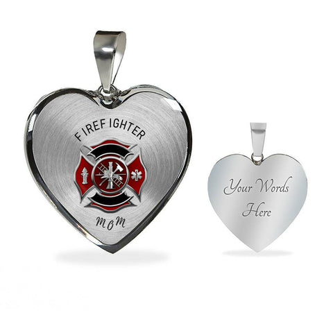 Firefighter Mom Luxury Pendant Charm Necklace - Print Fads