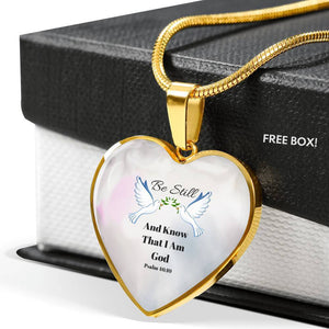 Be Still Heart Pendant Necklace 18k Gold Finish - Print Fads