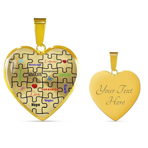 Autism Support Heart Luxury Necklace - Print Fads