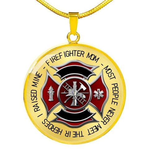 Firefighter Mom Luxury Circle Pendant Necklace - Print Fads