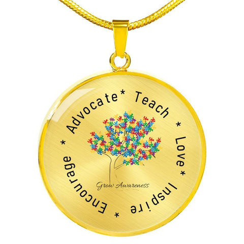 Grow Awareness Round Luxury Pendant Necklace - Print Fads